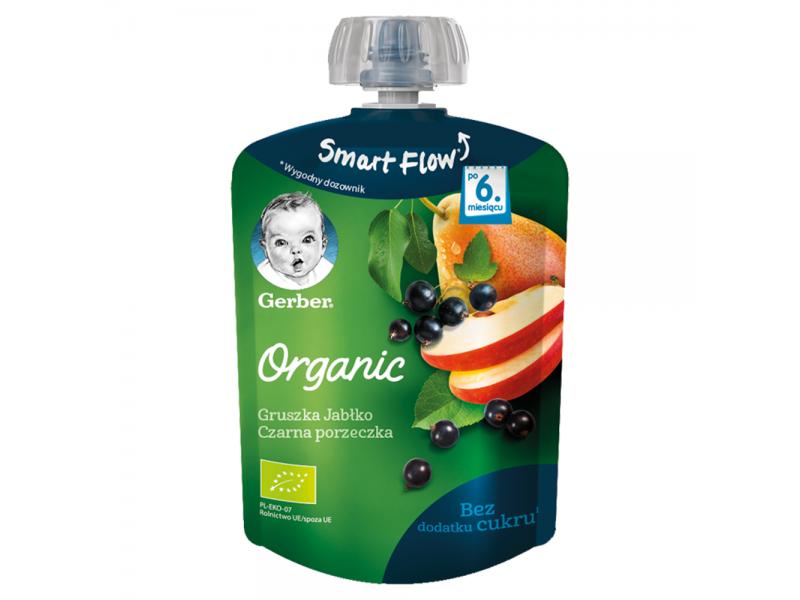 Gerber Organic Deserek Gruszka jab³ko czarna porzeczka dla niemowl±t po 6. miesi±cu 90 g