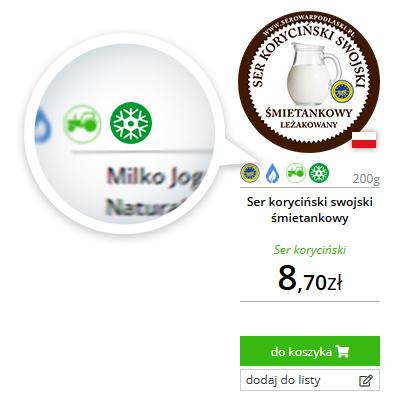 produkty oznaczona zieloną gwiazdką